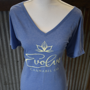 Ladies slouchy v-neck blue triblend