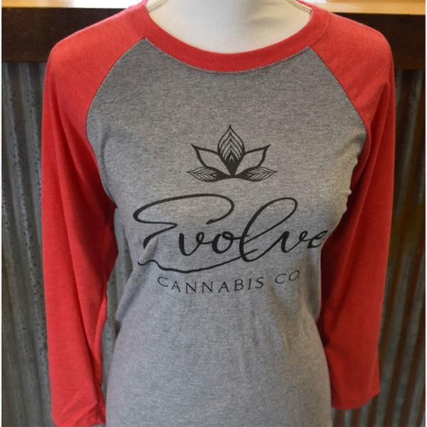 red three quarter sleeve evolve cannabis apparel